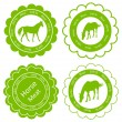 Organic farm horse meat food labels illustration — Stock Vector