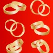 Royalty-Free Stock Vector Image: Gold wedding rings vector background set