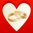 Gold wedding rings with heart shaped card vector - Stock Vector