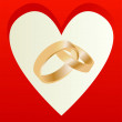 Gold wedding rings with heart shaped card vector — Stock Vector