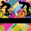 Sport road bike riders bicycle silhouettes in colorful abstract — Stock Vector