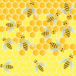 Stock Vector: Bees and honeycomb wax cell vector background