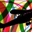 Royalty-Free Stock Vector Image: Old vintage airplane colorful lines background illustration