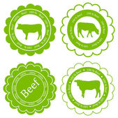 Farm animals market ecology organic beef meat label vector backg — Stock Vector