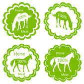 Bio-bauernhof pferd fleisch essen etiketten abbildung — Stockvektor