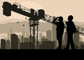 Engineer and construction site manager watching skyscraper build — Stock Vector