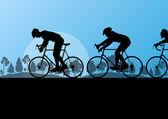 Sportovní silniční kolo jezdci a jízdní kola detailní siluety v místní a regionální úrovni — Stock vektor