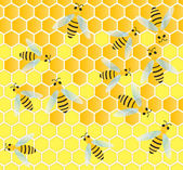 Bees and honeycomb wax cell vector background — Cтоковый вектор