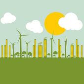 Ilustración de ciudad verde ecología contra contaminación concepto backgr — Vector de stock