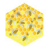 Bees and honeycomb wax cell vector background — Stock Vector