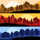 Wild mountain forest nature landscape scene collection backgroun — Stock Vector