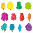 Tree set vector background stylized — Stock Vector