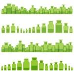 Herbal bottles essences vector ecology medicine concept backgrou — Stock Vector