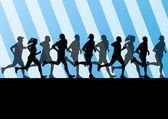 Man and women marathon runners silhouettes in sport stadium land — Stock Vector