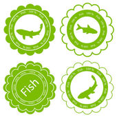 Fish vector background label stamp green concept — Stock Vector