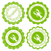 Crayfish vector background label stamp green concept — Stock Vector