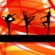 Young women doing calisthenics art gymnastics sport tricks with — Stock Vector