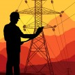 High voltage tower and line background vector — Stockvectorbeeld