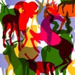 鹿、ヘラジカ、山羊角動物抽象 illustrat — ストックベクタ #24338621