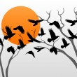 Tree and birds vector background for poster — Stock vektor
