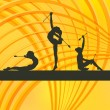 Rhythmic Gymnastics woman with clubs vector background - Imagen vectorial