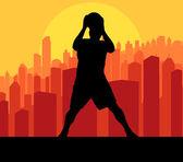 Basketbalspelers voor stad zonsondergang vector achtergrond — Stockvector