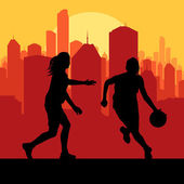 Women basketball in front of city sunset vector — Stockvector