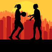 Women basketball in front of city sunset vector — Vecteur