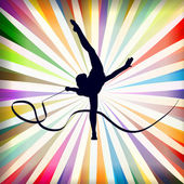 Giovani donne facendo ginnastica ritmica ginnastica arte sport trucchi con — Vettoriale Stock