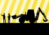 Excavator tractors detailed silhouettes illustration in construc — Stock Vector
