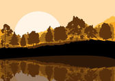 Wild mountain forest nature landscape scene background illustrat — Stock Vector