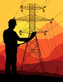 High voltage tower and line background vector — Stockvector