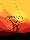 High voltage tower and line background vector — Stock Vector