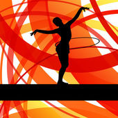 Rhythmic gymnastic background woman with hoop ring vector — Stock Vector