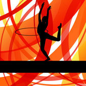 Rhythmic gymnastic background woman with hoop ring vector — Cтоковый вектор