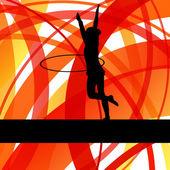Rytmiczne tło gimnastyka kobieta z obręczy pierścień wektor — Wektor stockowy