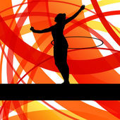 Rytmické gymnastiky pozadí žena s obruč ring vektor — Stock vektor