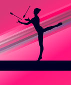 Rhythmic Gymnastics woman with clubs vector background — Stock Vector