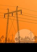 линии электропередачи высокого напряжения электроэнергии башня в сельской местности лесу — Cтоковый вектор