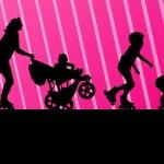 Family in roller skates vector background concept — Stock Vector