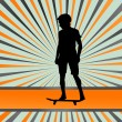 Skater silhouette in front of burst vector background — Stok Vektör