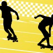 Skateboarders detailed silhouettes illustration background — Stock Vector