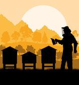 養蜂家養蜂場彼のベクトルの背景での作業 — ストックベクタ