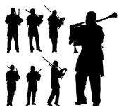 Scottish bagpiper silhouette vector background set — Stock Vector
