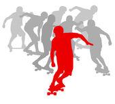 скейтбордист победитель перед толпой векторный фон — Cтоковый вектор