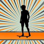 Skater silhouette in front of burst vector background — Stock Vector