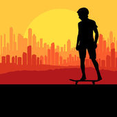 Skater silhouette in front of city landscape vector background — Stock Vector