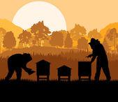 養蜂家養蜂場のベクトルの背景での作業 — ストックベクタ