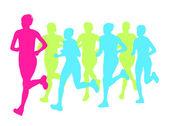 Women marathon winner finish vector background and group of runn — Wektor stockowy