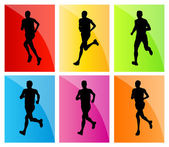 Running man set vector background — Stock Vector